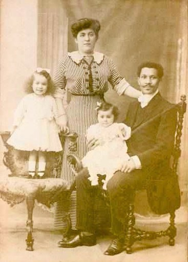 Joseph Laroche and family in Paris. He was of the only black passengers on the Titanic.